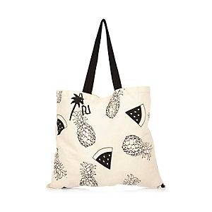 Beige pineapple print tote handbag
