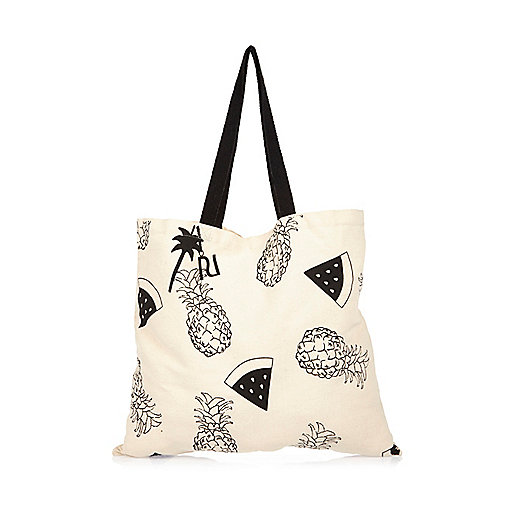 Cream pineapple print shopper bag