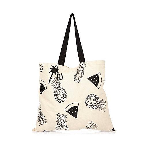 Shopper-Tasche mit Ananasprint in Creme