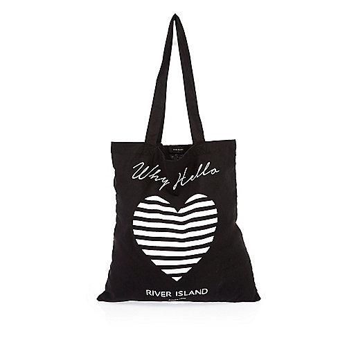 Schwarze River Island Shopper-Tasche