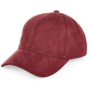 Dark red faux suede cap