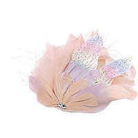 Pink floral feather hair slide