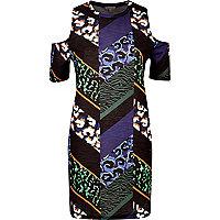 Black Aztec print cold shoulder dress