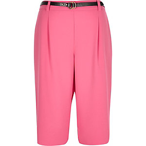 Bright pink belted tailored shorts