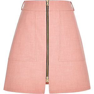 Light pink zip-up A-line skirt