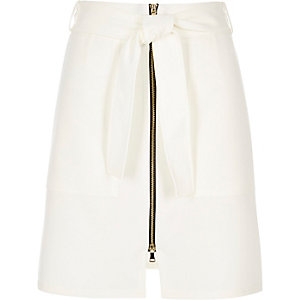 Cream belted zip-up A-line skirt