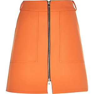Orange zip-up A-line skirt