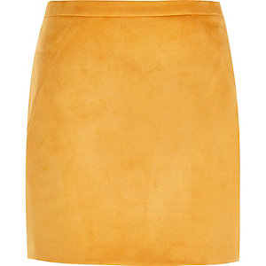 Orange faux suede mini skirt