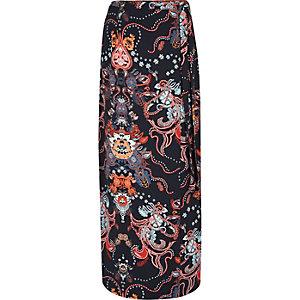 Blue paisley print wrap maxi skirt