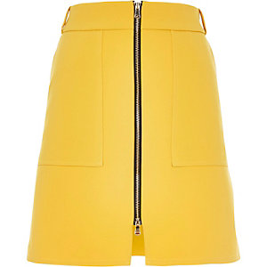 Yellow zip-up A-line skirt