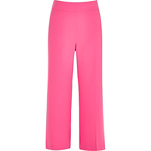Bright pink cropped wide leg pants