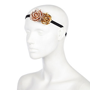 Bronze metallic flower headband