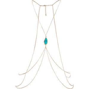 Turquoise embellished body harness