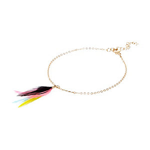 Gold tone feather anklet