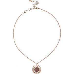 Rose gold tone glittery pendant necklace