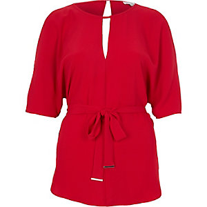 Red belted t-shirt
