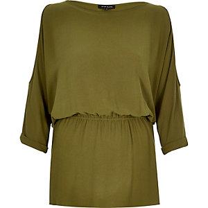 Khaki cold shoulder t-shirt