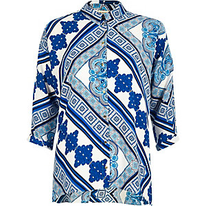 Blue tile print shirt