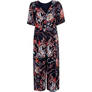 Navy printed wrap culotte jumpsuit