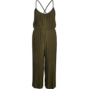 Khaki pleated jumpsuit