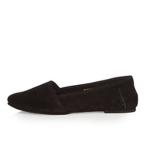 Black suede slip on shoes