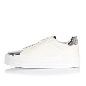 White metallic trim platform sneakers