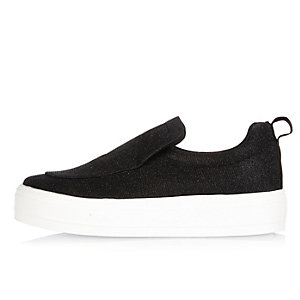 Black glitter slip on sneakers