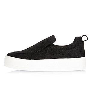 Black glitter slip on sneakers
