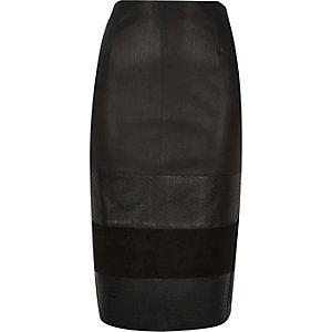 Black panel pencil skirt