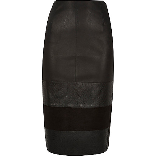 Black panel pencil skirt