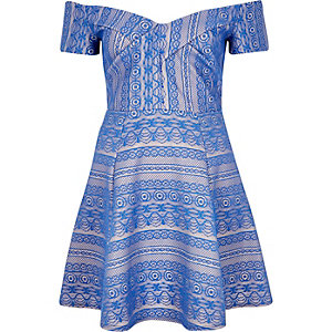 Blue print bardot skater dress