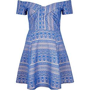 Blue print bardot skater dress
