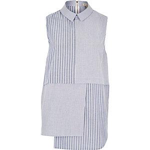 Blue stripe panel shirt