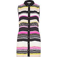 Pink stripe sleeveless shirt