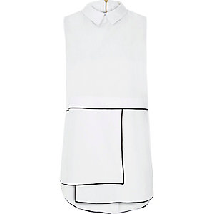 White contrast seam sleeveless shirt