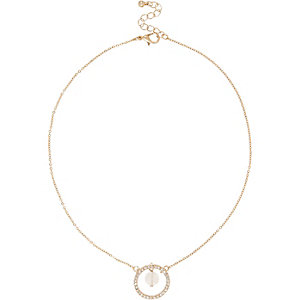 Gold tone quartz twist pendant necklace