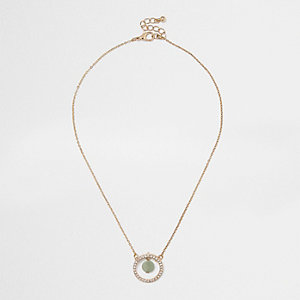 Gold tone Jade twist pendant necklace