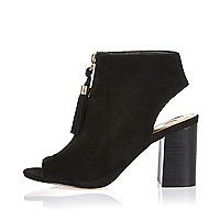 Black suede zip front shoe boots