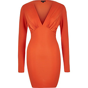 Orange plunge neck bodycon mini dress