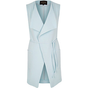 Blue textured sleeveless jacket