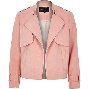 Pink cropped trench jacket