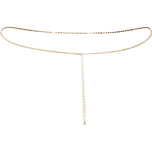 Gold tone embellished belly chain