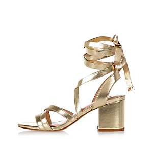 Gold tie-up block heel sandals
