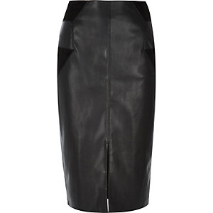 Black patchwork pencil skirt