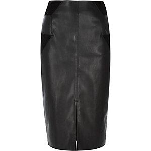 Black patchwork pencil skirt