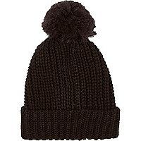 Black knitted pom pom beanie hat