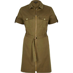 Khaki zip shirt dress