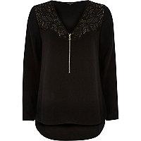 Black zip-up blouse