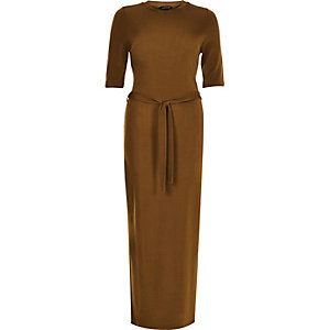 Gold belted bodycon midi dress