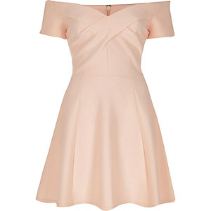 Light pink bardot skater dress